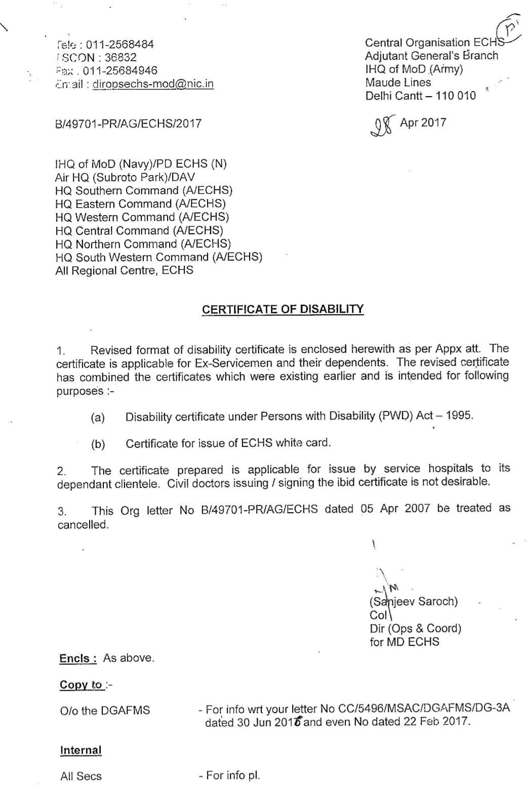 Ex-serviceman Disability Certificate Letter